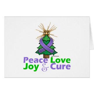 Violet Ribbon Christmas Peace Love, Joy & Cure Greeting Card