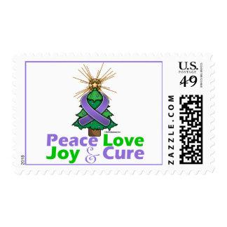 Violet Ribbon Christmas Peace Love, Joy & Cure Stamp