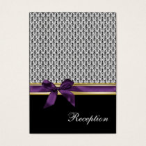 violet ribbon damask Reception   Cards