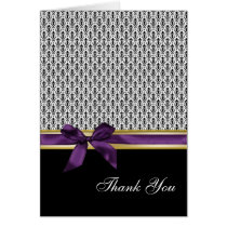 violet ribbon damask romantic Thank You Card