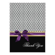 violet ribbon damask Thank You Card