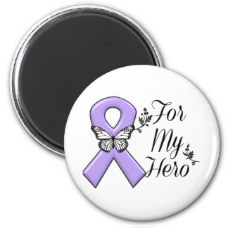 Violet Ribbon For My Hero Hodgkins Lymphoma 2 Inch Round Magnet
