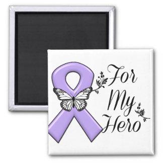Violet Ribbon For My Hero Hodgkins Lymphoma 2 Inch Square Magnet