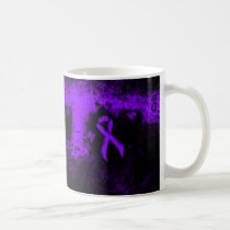 Violet Ribbon Grunge Heart Coffee Mug