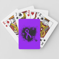 Violet Ribbon Grunge Heart, Hodgkin's lymphoma Playing Cards