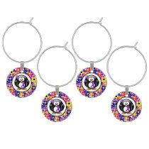 Violet Ribbon Penguin Wine Glass Charm