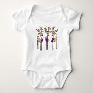 Violet Ribbon Reindeer (Hodgkin's Lymphoma) Baby Bodysuit