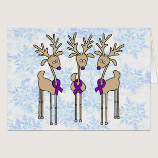 Violet Ribbon Reindeer (Hodgkin's Lymphoma) Card