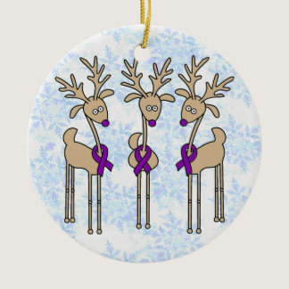 Violet Ribbon Reindeer (Hodgkin's Lymphoma) Ceramic Ornament
