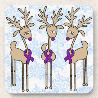 Violet Ribbon Reindeer - Hodgkins Lymphoma Coaster