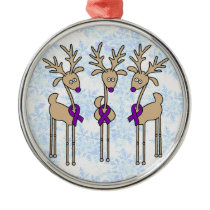 Violet Ribbon Reindeer (Hodgkin's Lymphoma) Metal Ornament