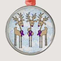 Violet Ribbon Reindeer (Hodgkin's Lymphoma) Metal Ornament