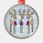 Violet Ribbon Reindeer (Hodgkin's Lymphoma) Ornament