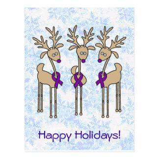 Violet Ribbon Reindeer (Hodgkin's Lymphoma) Postcard