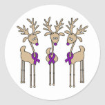 Violet Ribbon Reindeer (Hodgkin's Lymphoma) Sticker