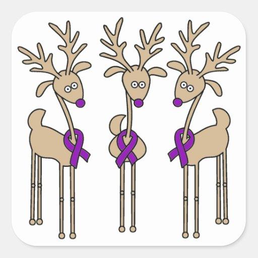 Violet Ribbon Reindeer (Hodgkin's Lymphoma) Square Stickers