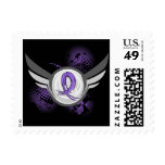Violet Ribbon Wings Hodgkin's Lymphoma Postage Stamp