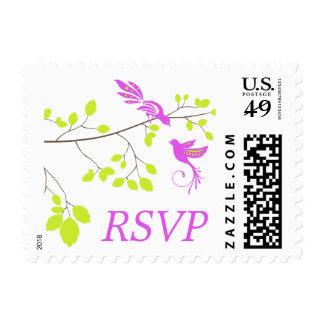 Violet Romance Wedding RSVP Postage Stamps