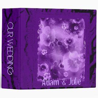 Violet romantic flower wedding or photo book 3 ring binder