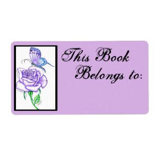 Violet Rose Book Ownership Label ~plum