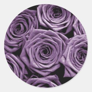Violet Roses Classic Round Sticker
