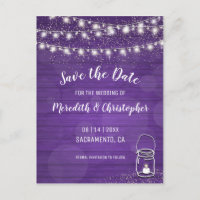 Violet Rustic Mason Jar Wedding Save the Date Announcement Postcard