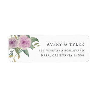 Violet & Sage Floral Return Address Label