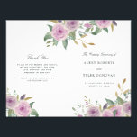 """Violet &amp; Sage Folded Wedding Program<br><div class=""""desc"""">Our garden floral wedding program features your ceremony details in elegant lettering, accented with painted watercolor flowers in pastel lavender purple and sage green. Personalize with the names of your wedding party with easily editable text fields. Coordinates with our Violet &amp; Sage wedding invitation collection for summer, spring, outdoor or...</div>"""