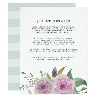 Violet & Sage Wedding Guest Details Card