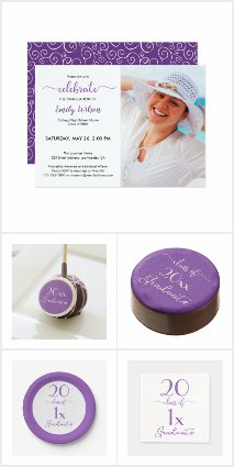 Violet Script Graduation Party Supplies and Gifts