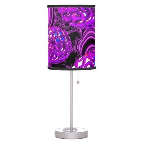 Violet Sea Dance, Abstract Purple Bubbles Table Lamp