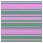 [ Thumbnail: Violet & Sea Green Colored Striped/Lined Pattern Fabric ]