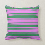 [ Thumbnail: Violet & Sea Green Colored Striped/Lined Pattern Throw Pillow ]