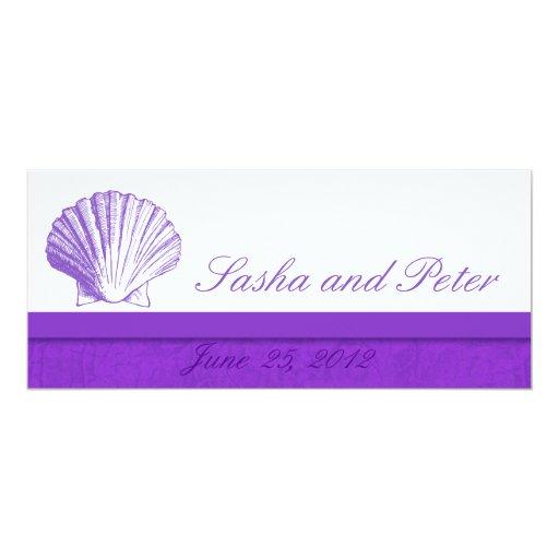 "Violet Shell Beach Wedding Invitations 4"" X 9.25"" Invitation Card"