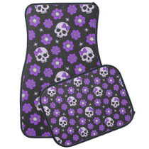 Violet Skulls and Flowers Car Floor Mat