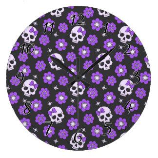 Violet Skulls and Flowers Large Clock