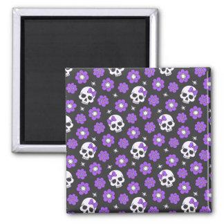 Violet Skulls and Flowers 2 Inch Square Magnet