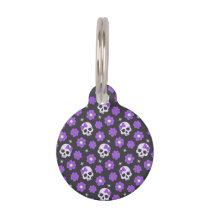 Violet Skulls and Flowers Pet ID Tag
