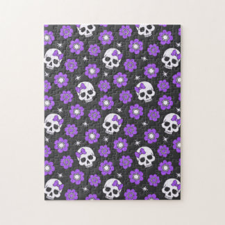 Violet Skulls and Flowers Jigsaw Puzzle