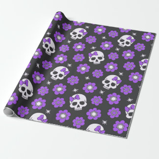 Violet Skulls and Flowers Wrapping Paper
