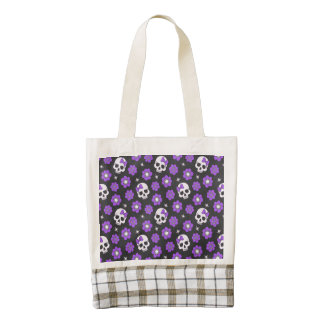 Violet Skulls and Flowers Zazzle HEART Tote Bag