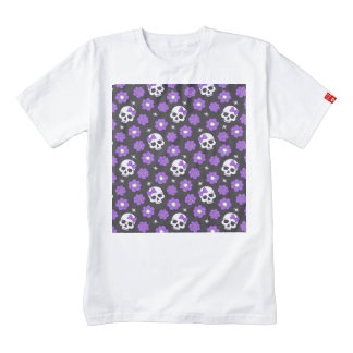 Violet Skulls and Flowers Zazzle HEART T-Shirt