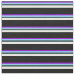 [ Thumbnail: Violet, Sky Blue, Slate Gray, Mint Cream & Black Fabric ]