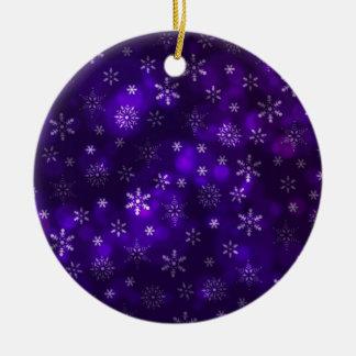Violet Snowflakes Ceramic Ornament