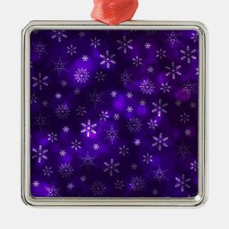 Violet Snowflakes Metal Ornament