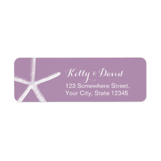 Violet Starfish Beach Wedding Return Address Label