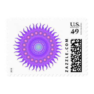 Violet Sun Purple Pattern Abstract Stamp