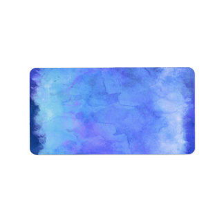 Violet Teal Blue Watercolor Texture Pattern Label