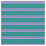 [ Thumbnail: Violet & Teal Colored Stripes Fabric ]