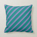 [ Thumbnail: Violet & Teal Colored Stripes Throw Pillow ]